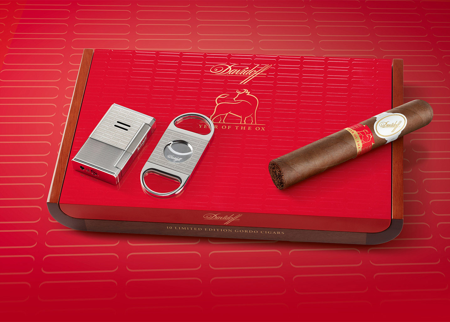 Davidoff Year of the Ox lighter, cutter and cigar 2021