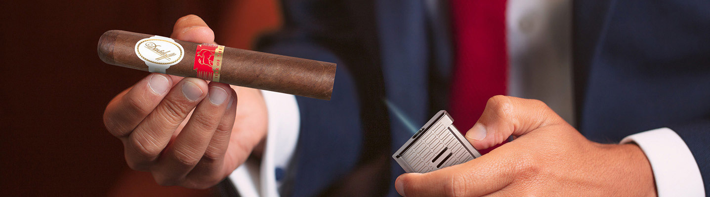 Davidoff's Year of the Ox Cigar and jet flame lighter